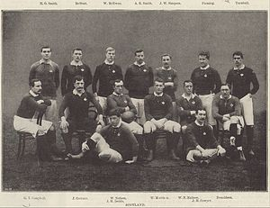 Andrew Balfour - Balfour, back row second from left, with the 1896 Scotland team