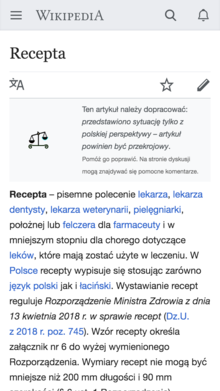 Screenshot of mobile page issue banner on Polish Wikipedia.png