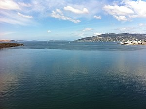 Sea breeze - Sea breeze moving across the water (towards the viewer) in Hobart, Tasmania, Australia.