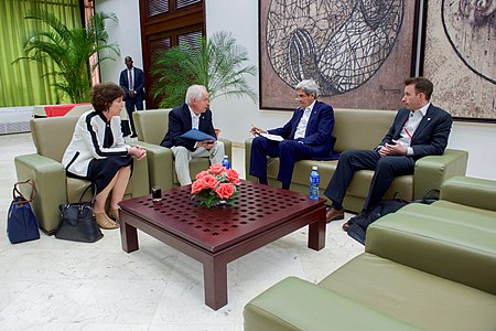 Secretary Kerry Speaks With State Department Team Before Meetings With Colombian Government and FARC Peace Negotiators in Havana, Cuba (25342845353).jpg