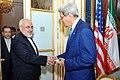 Secretary Kerry greets Iranian Foreign Minister Zarif.jpg