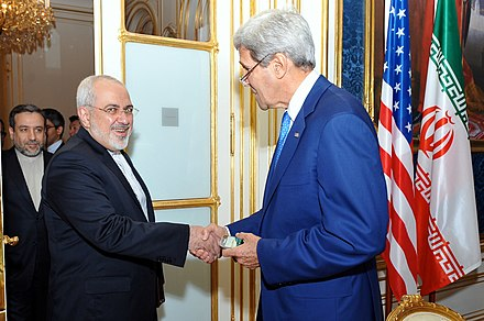 Iranian Foreign Minister Javad Zarif shaking hands with United States Secretary of State John Kerry during the Iranian nuclear talks. Secretary Kerry greets Iranian Foreign Minister Zarif.jpg