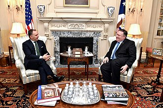 Mark Sedwill - Sedwill (left) meets with US Secretary of State Mike Pompeo in March 2019