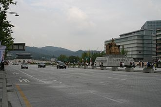 Sejongno - Sejongno in 2012, with the statues of the King Sejong the Great of Joseon on the right and Gwanghwamun on the left.