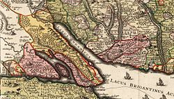 The Bishopric of Constance lying astride the western end of Lake Constance