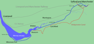 Cheshire Lines Committee - Approximate routes of the CLC Railway and the Liverpool and Manchester Railway