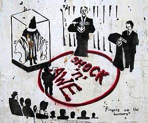 Satirical graffiti from Brick Lane, London.