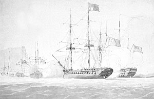 HMS Romney (1762) - The battle between Romney and Sibylle, depicted by Nicholas Pocock