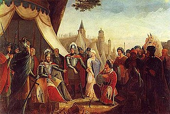 The Siege of Lisbon, historical painting, 1840