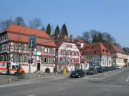 Historical buildings in the principal street Sinsheim Hauptstr 127-133.jpg