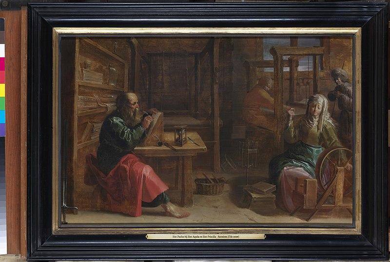 File:Sint-Paulus bij de heiligen Aquila en Priscilla, onbekend, schilderij, Museum Plantin-Moretus (Antwerpen) - MPM V IV 118.jpg
