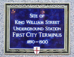 Plaque marking the location of the station.