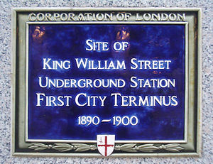 King William Street tube station - Plaque marking the location of the station