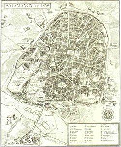 Salamanca en un plano de 1858