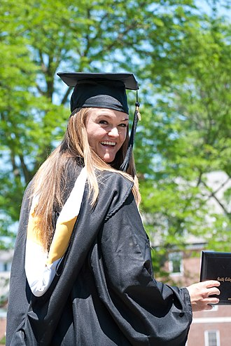 Academic dress in the United States - Contemporary bachelor gown and hood for Smith College.