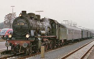 South German Railway Museum - The museum's Prussian P 8 locomotive on the 'Santa Special' heading for the Christmas market at Michelstadt on 11 December 2004, taken when halted in Miltenberg.