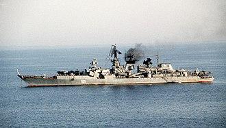 Soviet cruiser Admiral Oktyabrsky - Image: Soviet cruiser Admiral Oktyabrsky Hormuz 1990 color
