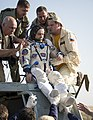 Soyuz TMA-11M Mikhail Tyurin shortly after landing.jpg
