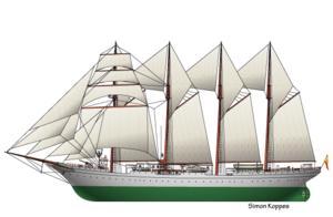 Spanish ship Juan Sebastián Elcano - Line art of Juan Sebastián de Elcano