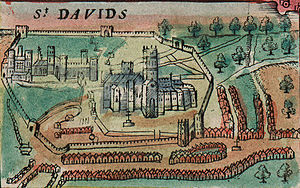 St Davids - St Davids depicted on a 1610 map of Wales