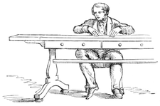Sketch showing a medium making a table rap by rattling its drawer with his knee.