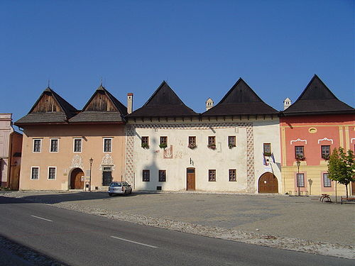 "Medieval square in Spisska Sobota, Slovakia (Now Poprad). The former name of the town literally means ""Saturday in Spis"" and it is derived from a day of week in which the town was granted a right to organize a market. Square of Spisska Sobota 6.jpg"