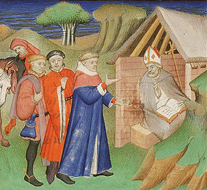 Ælfheah of Canterbury - A 15th-century illuminated manuscript showing Ælfheah being asked for advice
