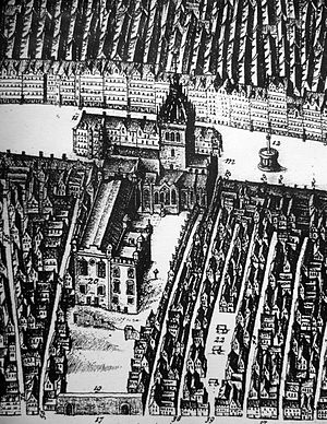 William Creech - Detail from James Gordon of Rothiemay's map of Edinburgh 1647. Creech's Land was the eastmost shop immediately behind St Giles Cathedral, facing the Market Cross