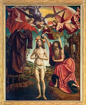 St. Wolfgang kath. Pfarrkirche Pacher-Altar Taufe 01.jpg