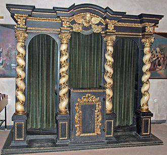 Confession (religion) - In Roman Catholic settings, the traditional style of confessional allows the priest, seated in the center, to hear from penitents on alternating sides.