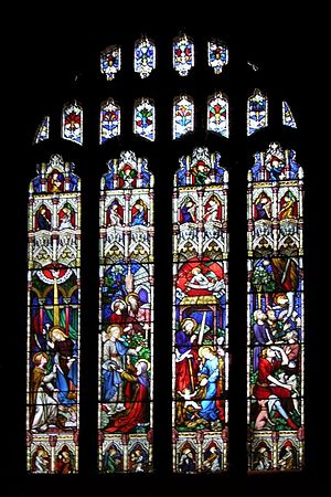 "Anglican Diocese of Sydney -  St Andrew's Cathedral windows depicting the birth of Jesus with the phrasing ""And the Word was made flesh and dwelt among us, and we beheld His glory... full of grace and truth."""