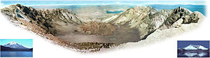 1980 eruption of Mount St. Helens - Mount St. Helens from Monitor Ridge showing the cone of devastation, the huge crater open to the north, the post-eruption lava dome inside and Crater Glacier surrounding the lava dome. The small photo on the left was taken from Spirit Lake before the eruption and the small photo on the right was taken after the eruption from approximately the same place. Spirit Lake can also be seen in the larger image, as well as two other Cascade volcanoes.