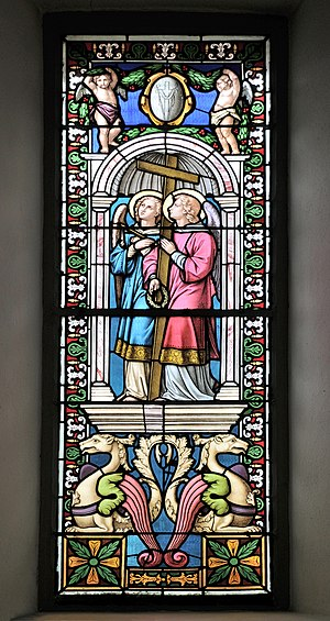 Stained glass window with angels in the Saint Antony church in St. Ulrich in Gröden.jpg