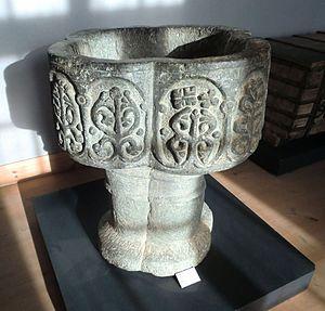 Starrkärr Church - The original 13th-century baptismal font