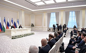 President of Uzbekistan - Modern joint-press conferences are usually held in the halls of Kuksaroy.