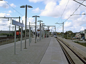 Forepark RandstadRail station - A RR tram leaving Forepark for Den Haag.