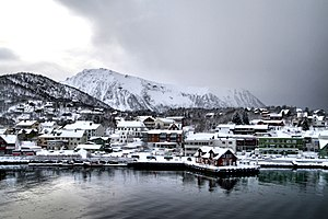 Stokmarknes - View of the town in winter