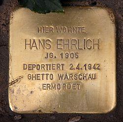 Photo of Hans Ehrlich brass plaque