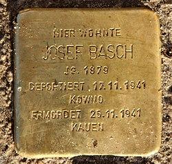 Photo of Josef Basch brass plaque