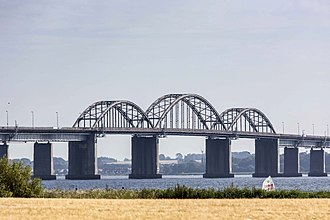 Storstrøm Bridge - The main spans of the Storstrøm Bridge as seen from Masnedø (2013).