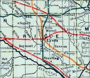 Marion and McPherson Railroad - Image: Stouffer's Railroad Map of Kansas 1915 1918 Rice County