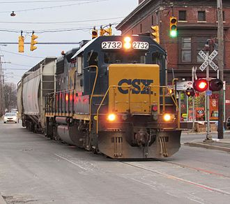 Utica, New York - A CSX train sharing Schuyler Street in West Utica