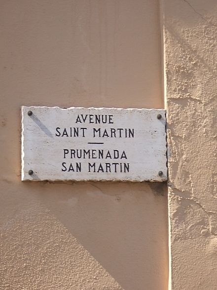 Street sign in French and Monégasque in Monaco-Ville.
