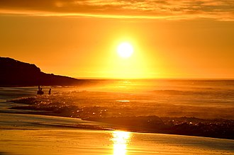 Golden hour (photography) - Golden hour at Long Beach in South Africa