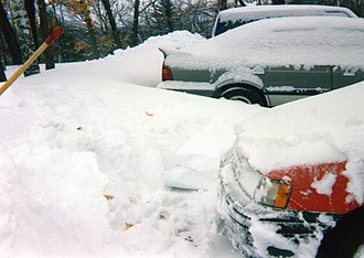 1993 Storm of the Century - Partially dug out car at Fort Devens, Massachusetts, after the storm