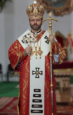 Omophorion - Major archbishop Sviatoslav Shevchuk wearing a white omophorion which has been sewn into shape (with five bars at the bottom, signifying his position as head of an Eastern rite church).