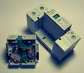 Surge protector - A 2-pole surge protector for installation in distribution boards.