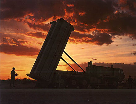 Lockheed Martin Terminal High Altitude Area Defense (THAAD) system used by the army for ballistic missile protection THAAD Launcher.jpg