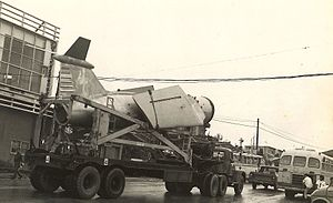 U.S. nuclear weapons in Japan - A TM-72 Mace missile is trucked through the Okinawa city of Gushikawa in the early 1960s in a rare open display.