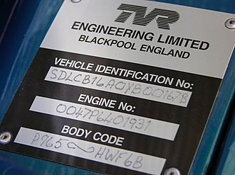 TVR Speed Six engine - Engine ID plaque in a TVR Cerbera